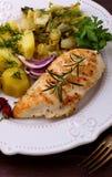 Batatas grelhadas da galinha Imagem de Stock Royalty Free