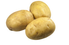Batatas isoladas no branco fotografia de stock royalty free