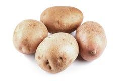 Batatas limpas no fundo branco fotografia de stock royalty free