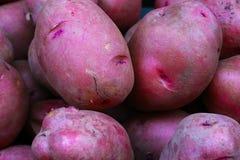 Batatas NY118 vermelhas no mercado do ` s do fazendeiro imagem de stock