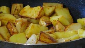 Batatas que fritam o processo Misturando Fried Potatoes vídeos de arquivo