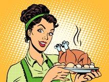 Batatas quentes do pássaro do prato da mulher Foto de Stock Royalty Free