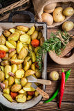 Batatas Roasted com ervas, alho e pimenta Imagens de Stock