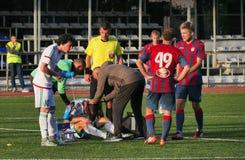 Bataysk Ρωσία Γήπεδο ποδοσφαίρου 2 Οκτωβρίου 2016 αγώνας ποδοσφαίρου τ Στοκ φωτογραφία με δικαίωμα ελεύθερης χρήσης