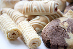 Batch. Various grades of cookies, wafers Royalty Free Stock Photo