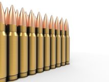 Batch of ammo - high calibre bullets. Isolated on white background Royalty Free Stock Photography