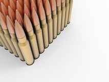 Batch of ammo - high calibre bullets - top down view. Isolated on white background vector illustration