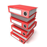 Batch of binders, red office folders. 3D render Stock Images