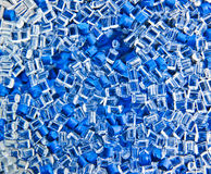 Batch of blue plastic polymer granules Stock Photo