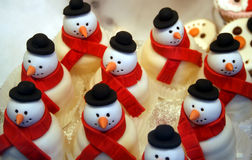 A Batch of Candy Snowmen. A Batch of Candy Christmas Snowmen Royalty Free Stock Images