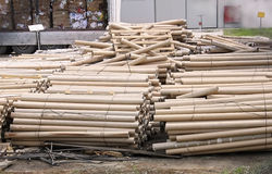 Batch of cardboard tubes. In front of recycling fabric royalty free stock photo