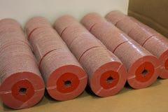 Batch of ceramic fibre discs on palet Royalty Free Stock Image