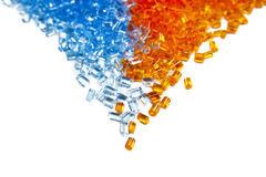 Batch of colorful plastic polymer granules Stock Photos