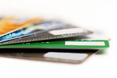 Batch of credit cards. Royalty Free Stock Photos
