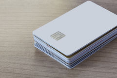 Batch of Credit or Debit Card on a Table Royalty Free Stock Image