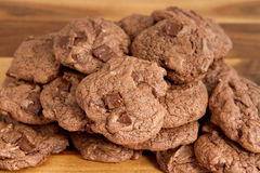 Batch of double chocolate cookies Royalty Free Stock Image