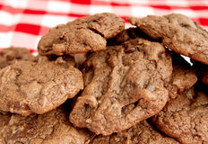 Batch of double chocolate cookies Stock Photo