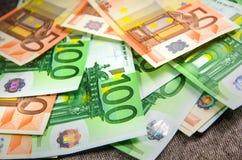 Batch of Euro bills close-up. Euro bills close-up on grey royalty free stock photography