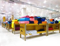 Batch of fabric in a store. royalty free stock photo
