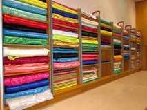 Batch of fabric in a store. Stock Photo