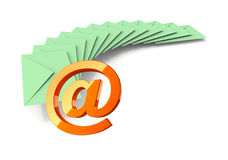Batch of light green envelopes an email sign Royalty Free Stock Photos
