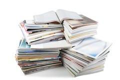 Batch of magazines. Isolated on white stock photo
