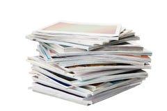 Batch of magazines. Isolated on white stock photography