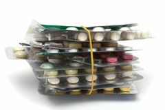 Batch of pills packages Stock Photography