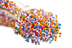 Batch of plastic polymer granules Stock Photo
