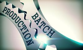 Batch Production - Mechanism of Shiny Metal Cog Gears. 3D. Batch Production - Illustration with Glowing Light Effect. Batch Production on the Mechanism of Shiny Stock Image