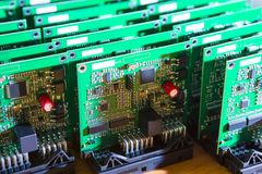 Batch of Ready to Use Printed Circuit Boards with Surface Mounted Devices. Batch of Ready to Use Printed Circuit Boards with Surface Mounted Components Royalty Free Stock Photo