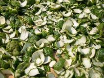 Batch slice rind of Kaffir lime. Royalty Free Stock Images