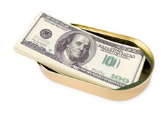 Batch of US dollars in can Royalty Free Stock Photography
