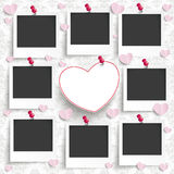 Batched Instant Photos Heart Ornaments Wallpaper. Batched instant photos with banner on the wallpaper with ornaments Stock Images