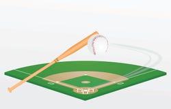Bate de béisbol, bola y campo ilustración del vector
