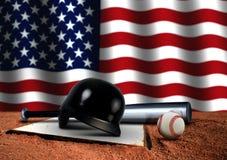 Bate de béisbol con el casco y la bandera americana ilustración del vector