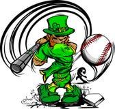 Bate de béisbol de balanceo del Leprechaun del día del St. Patricks Imágenes de archivo libres de regalías