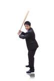 Bate de béisbol de la toma del hombre de negocios con sonrisa cómoda Imágenes de archivo libres de regalías