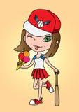 Bate de béisbol dulce del atleta de la muchacha con helado libre illustration
