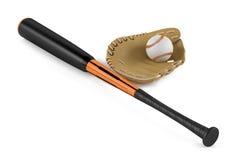 Bate de béisbol y guante de cuero aislados Imagenes de archivo