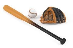 Bate de béisbol y guante de cuero aislados Imagen de archivo