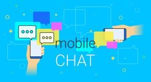 Bate-papo móvel e mensageiro na ilustração criativa do conceito do smartphone Fotos de Stock