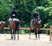 Bate-papo novo de dois cavaleiros do cavalo na mostra do cavalo da caridade de Germantown Fotos de Stock Royalty Free