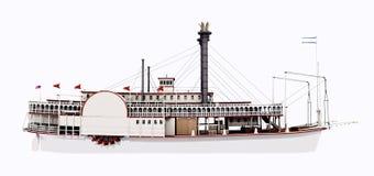 Bateau à vapeur du Mississippi - vue de côté illustration de vecteur