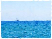 Bateau à voile de DW en mer Photographie stock libre de droits
