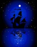 Bateau à voiles dans le clair de lune illustration libre de droits
