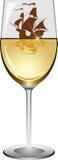 Bateau à voiles dans un verre à vin illustration stock