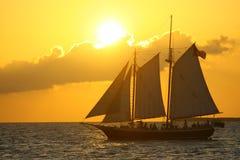 Bateau à voiles de silhouette dans le coucher du soleil image stock