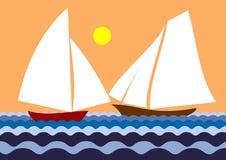 bateau à voiles deux Images stock