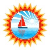 Bateau à voiles en soleil Images libres de droits